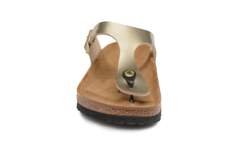 Sandalen Birkenstock Gizeh Flor W gold/bronze schuhe getragen