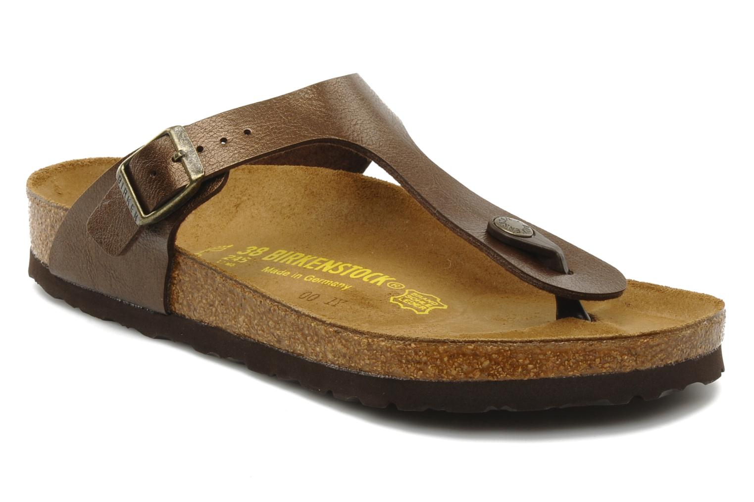 Sandals Birkenstock Gizeh Flor W Brown detailed view/ Pair view
