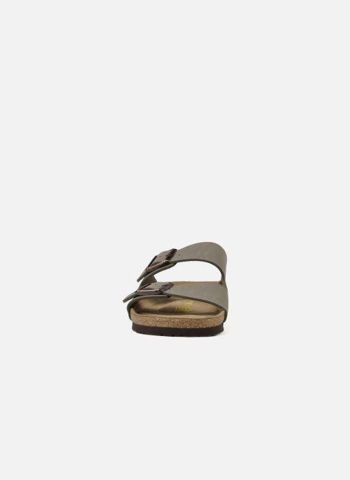 Sandalen Birkenstock Arizona Flor M grau schuhe getragen