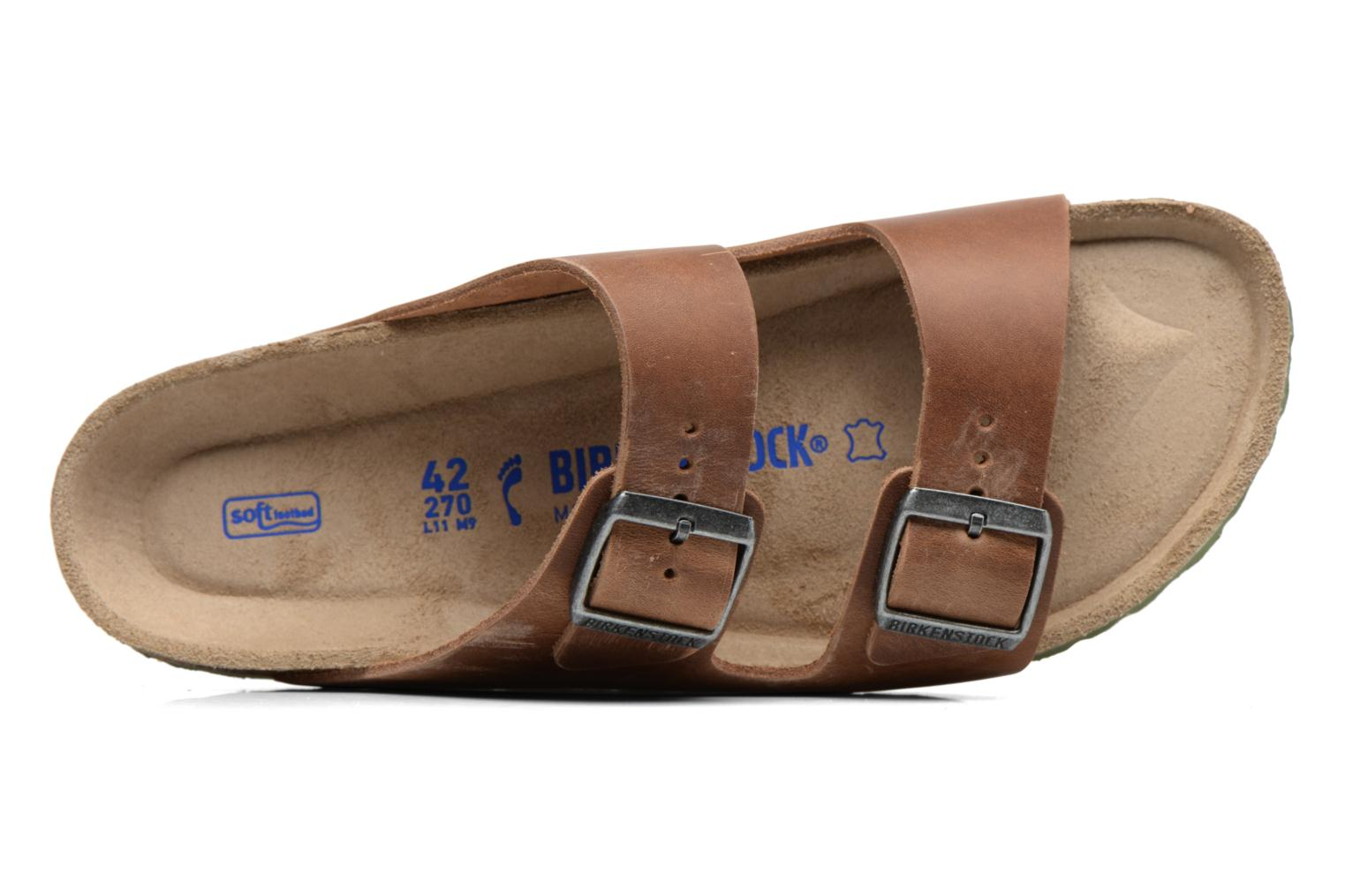 Sandals Birkenstock Arizona Cuir M Brown view from the left