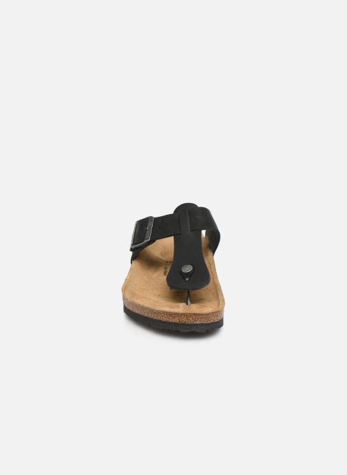 Tongs Birkenstock Medina Cuir M Noir vue portées chaussures