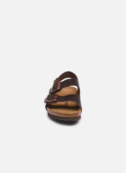 Sandales et nu-pieds Birkenstock Milano Cuir M Marron vue portées chaussures