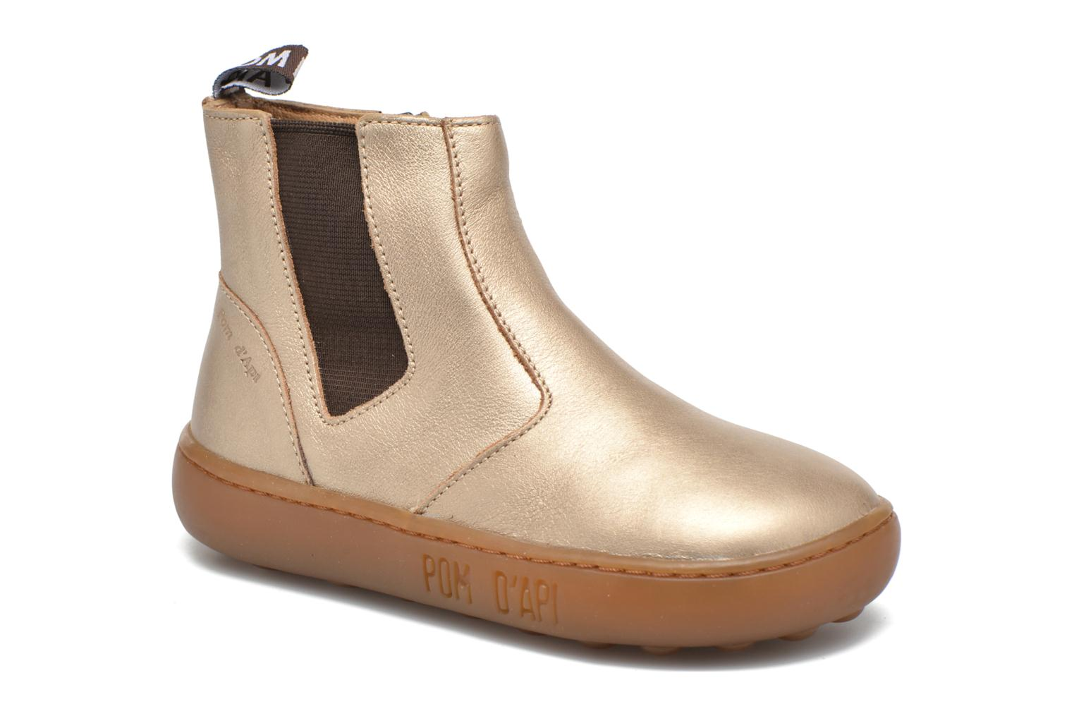 Ankle boots Pom d Api Walk Jodpur Basic Bronze and Gold detailed view/ Pair view