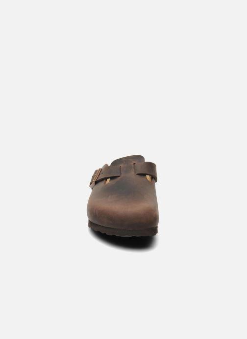 Mules et sabots Birkenstock Boston Cuir W Marron vue portées chaussures