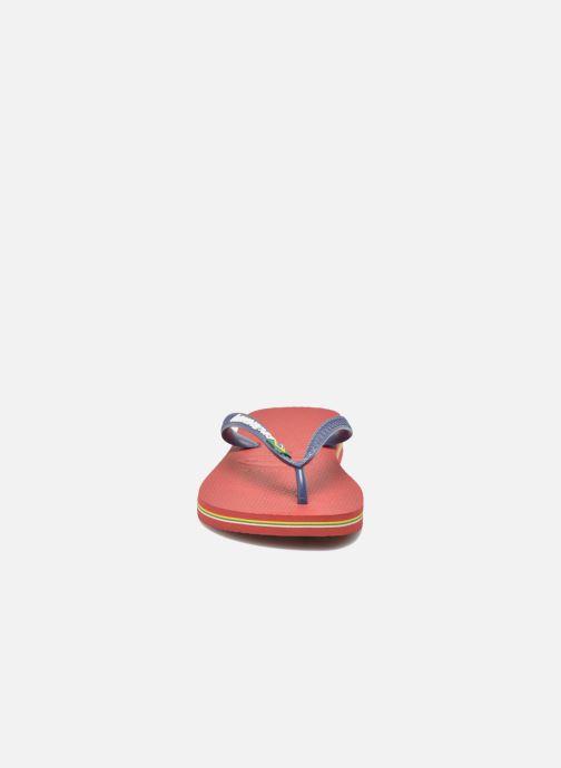 Tongs Havaianas Brasil Logo H Bordeaux vue portées chaussures