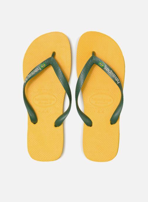 Tongs Havaianas Brasil Logo H Jaune vue portées chaussures