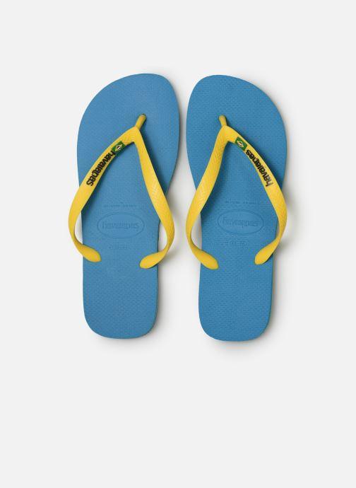 Tongs Havaianas Brasil Logo H Bleu vue portées chaussures
