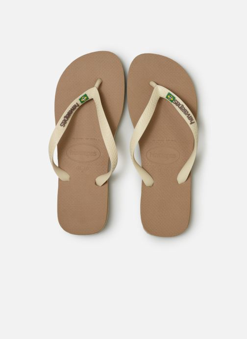 Tongs Havaianas Brasil Logo H Beige vue portées chaussures