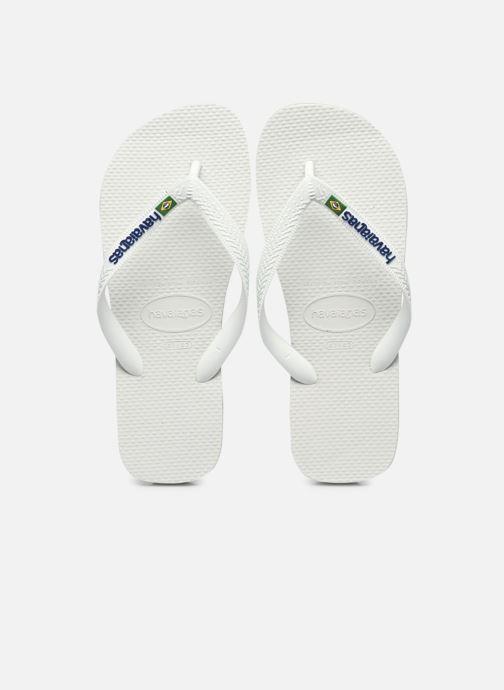 Tongs Havaianas Brasil Logo H Blanc vue détail/paire