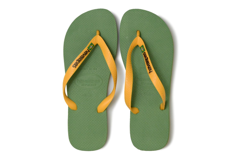 Zehensandalen Havaianas Brazil Logo H grün schuhe getragen