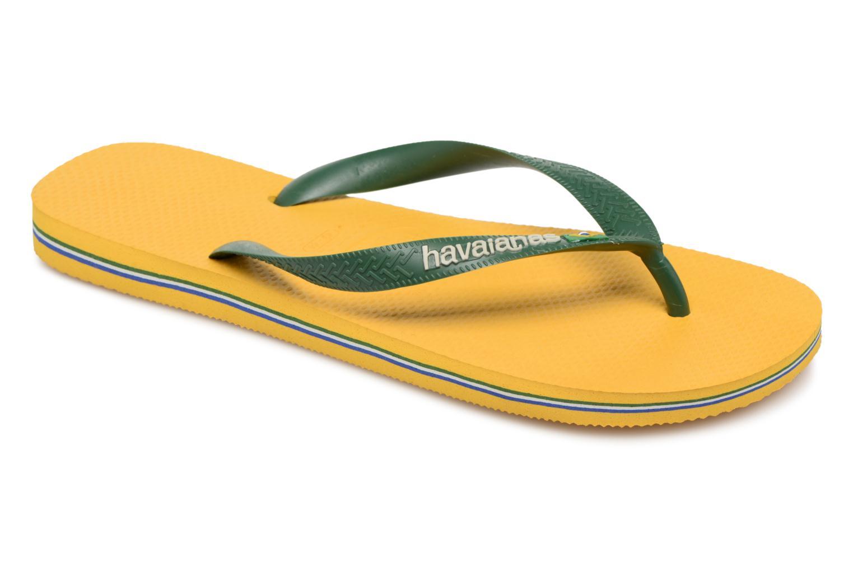 Tongs Havaianas Brasil Logo H Jaune vue détail/paire