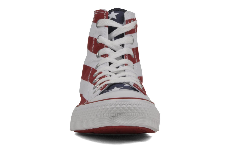 Baskets Converse Chuck Taylor All Star Stars & Bars Hi M Blanc vue portées chaussures