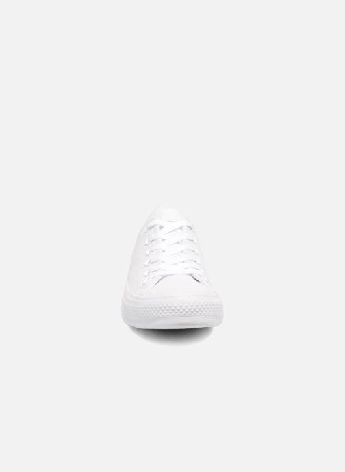 Sneaker Converse Chuck Taylor All Star Monochrome Leather Ox W weiß schuhe getragen