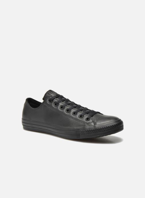 Sneakers Converse Chuck Taylor All Star Monochrome Leather Ox M Sort detaljeret billede af skoene