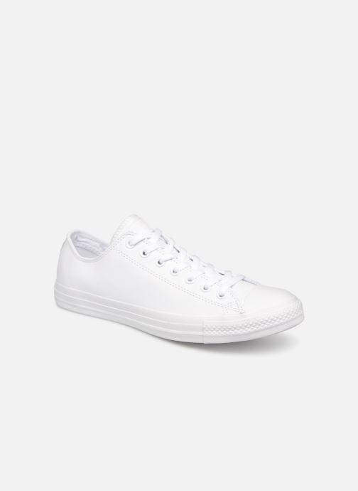 Sneakers Converse Chuck Taylor All Star Monochrome Leather Ox M Hvid detaljeret billede af skoene