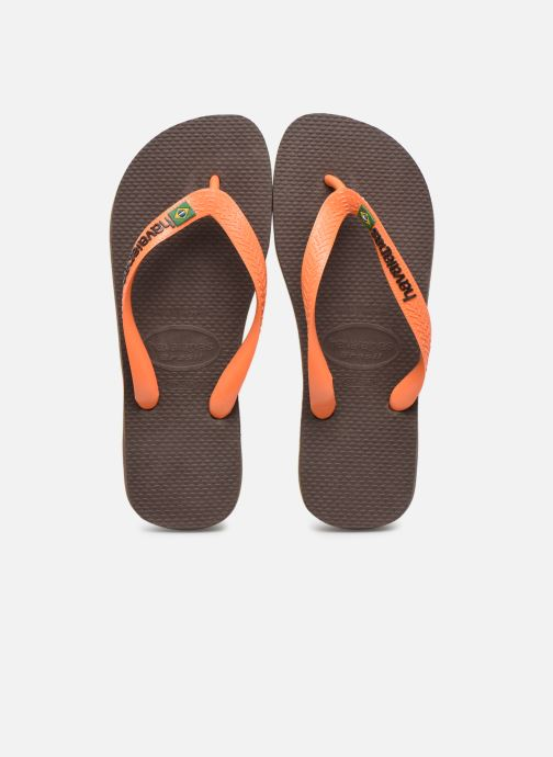 Tongs Havaianas Brasil Logo F Marron vue portées chaussures