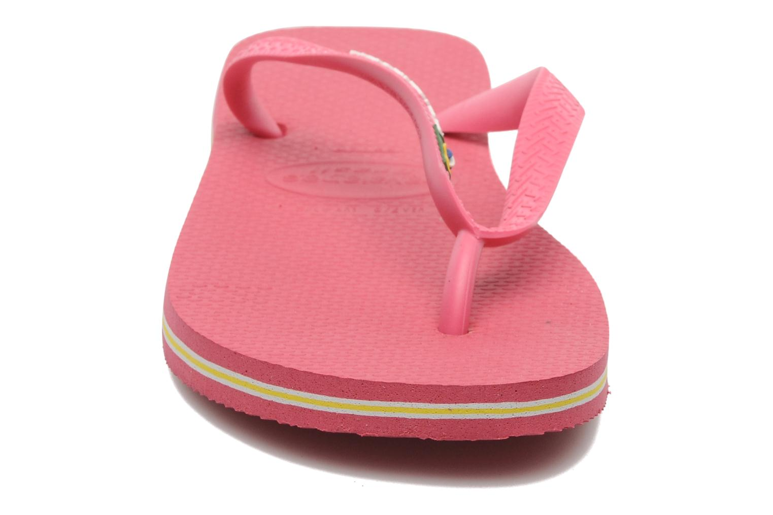 Tongs Havaianas Brasil Logo F Rose vue portées chaussures