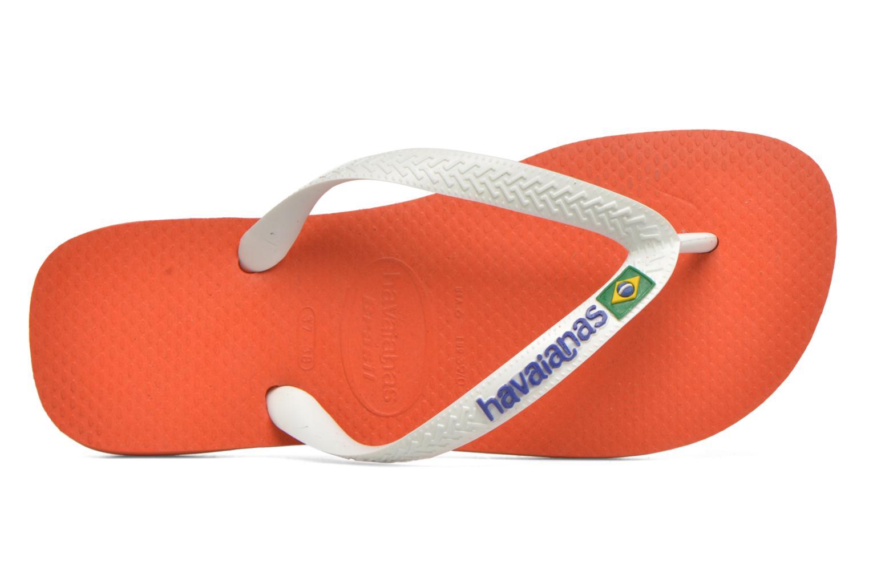 Chanclas Havaianas Brasil Logo F Naranja vista lateral izquierda