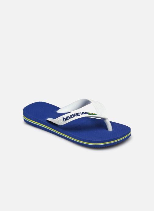 Tongs Havaianas Brasil Logo E Bleu vue portées chaussures