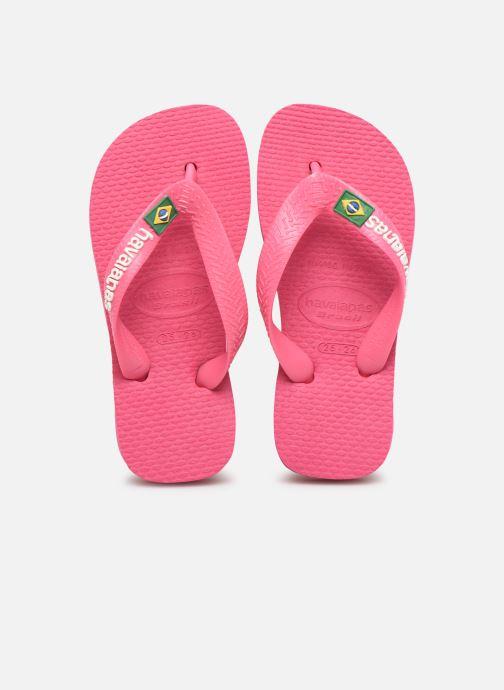 Tongs Havaianas Brasil Logo E Rose vue portées chaussures