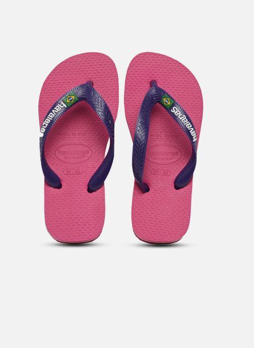 Flip flops Havaianas Brasil Logo E Pink detailed view/ Pair view