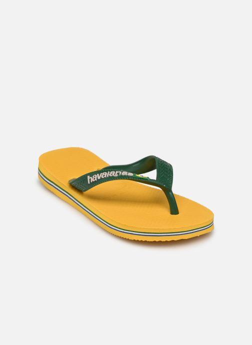 Tongs Havaianas Brasil Logo E Jaune vue portées chaussures