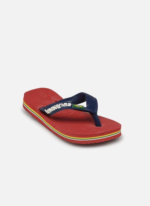 Tongs Havaianas Brasil Logo E Bordeaux vue portées chaussures