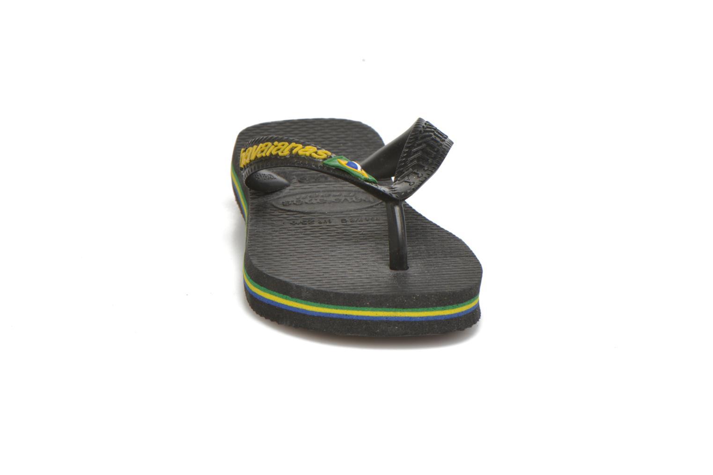 Zehensandalen Havaianas Brasil Logo E schwarz schuhe getragen