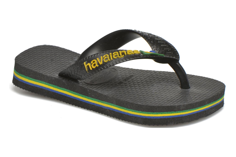 Zehensandalen Havaianas Brasil Logo E schwarz detaillierte ansicht/modell