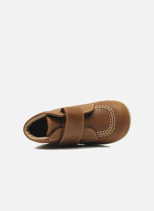 Schoenen met klitteband Kickers Bilou Bruin links
