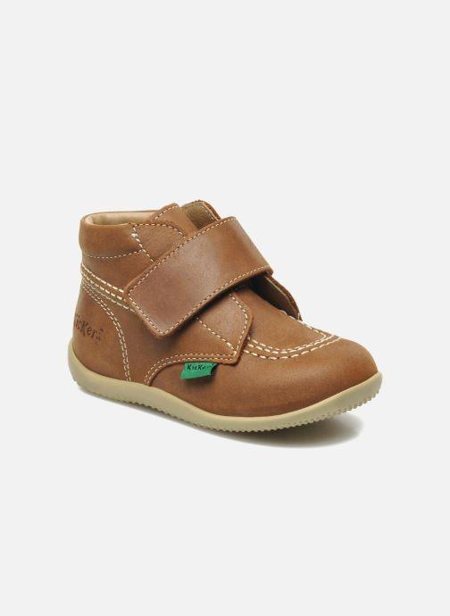 Schoenen met klitteband Kickers Bilou Bruin detail