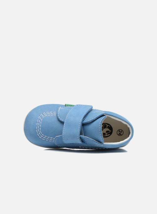 Chaussures à scratch Kickers Bilou Bleu vue gauche