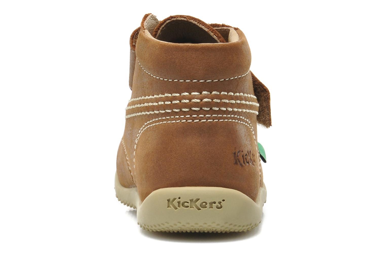 Chaussures à scratch Kickers Bilou Marron vue droite