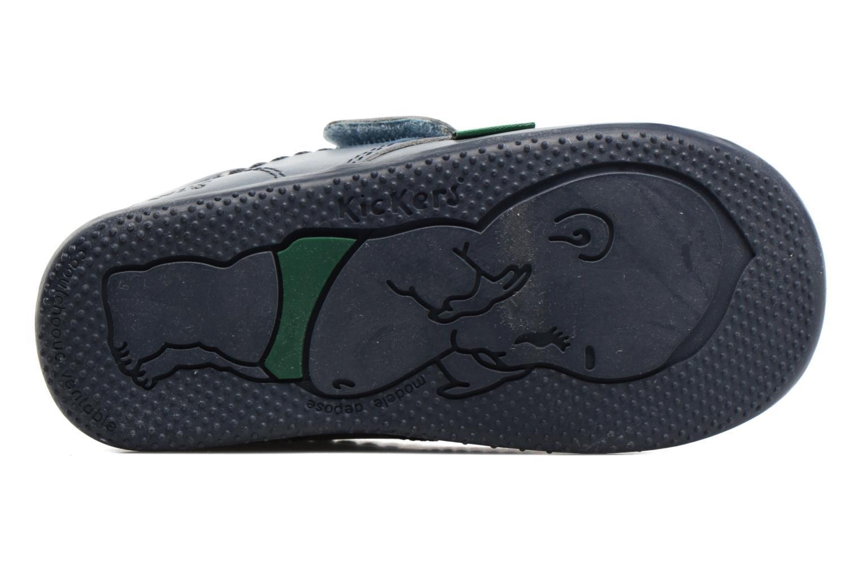 Chaussures à scratch Kickers Bilou Bleu vue haut