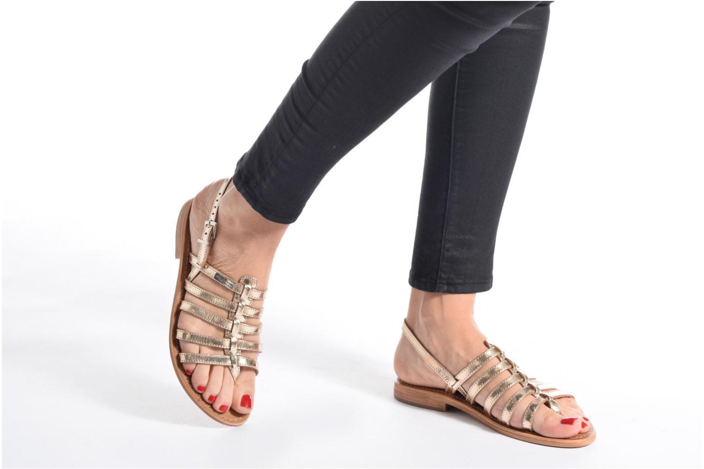 Sandales et nu-pieds Les Tropéziennes par M Belarbi Herisson Or et bronze vue bas / vue portée sac