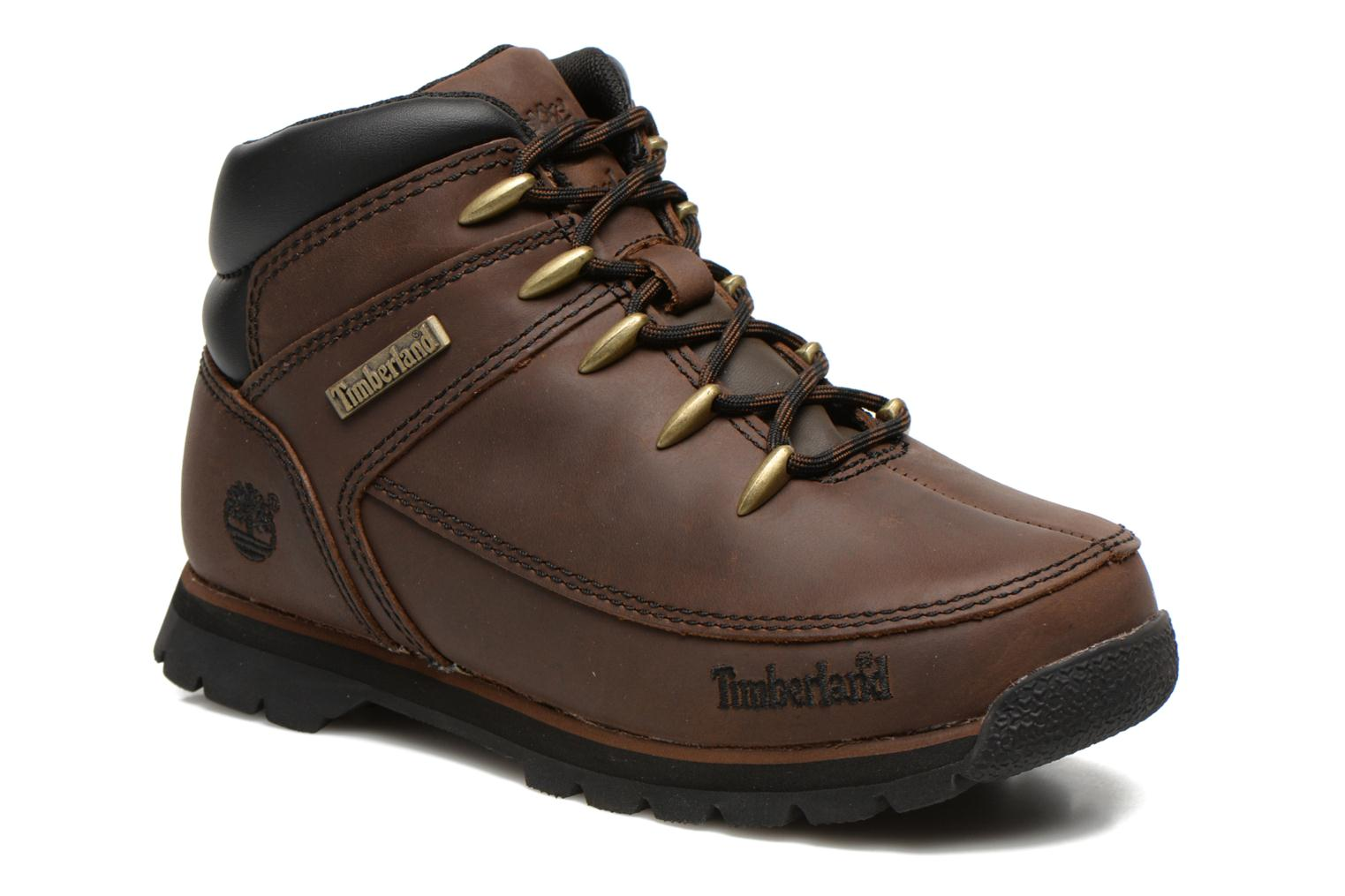 Bottines et boots Timberland Euro sprint Kids Marron vue détail/paire