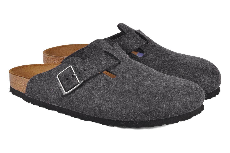 Sandales et nu-pieds Birkenstock Boston Laine M Gris vue 3/4
