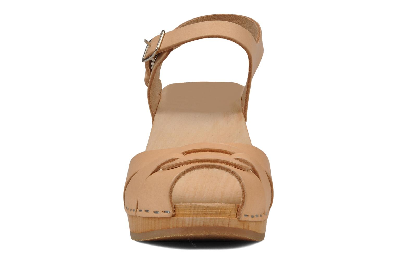 Sandales et nu-pieds Swedish Hasbeens Peep toe super high Beige vue portées chaussures