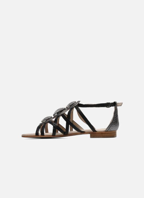 Sandals House of Harlow 1960 Silver Black front view