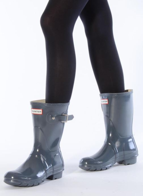 Bottines et boots Hunter Original short gloss Gris vue bas / vue portée sac