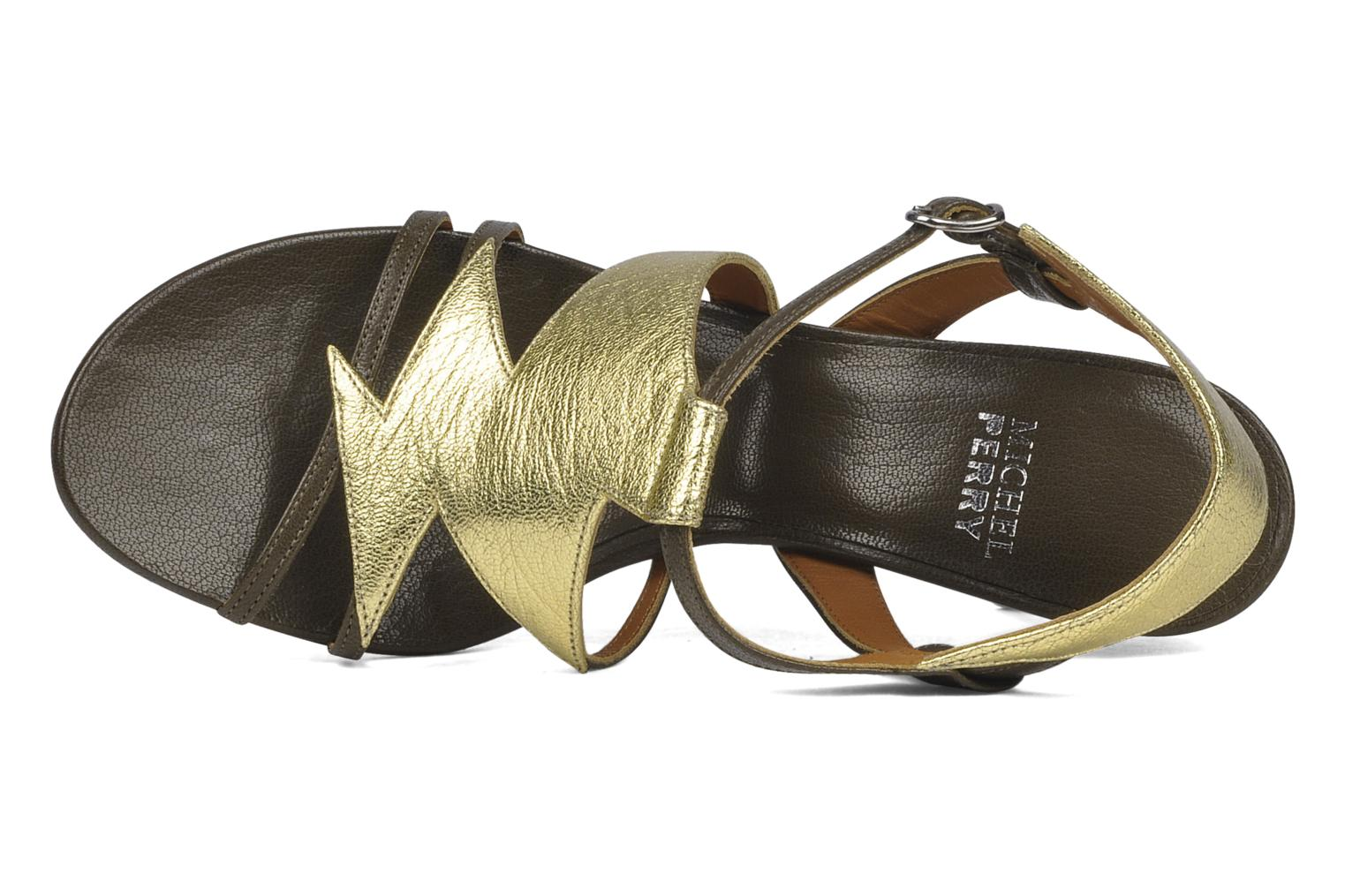 Sandals Michel Perry Themis Bronze and Gold view from the left
