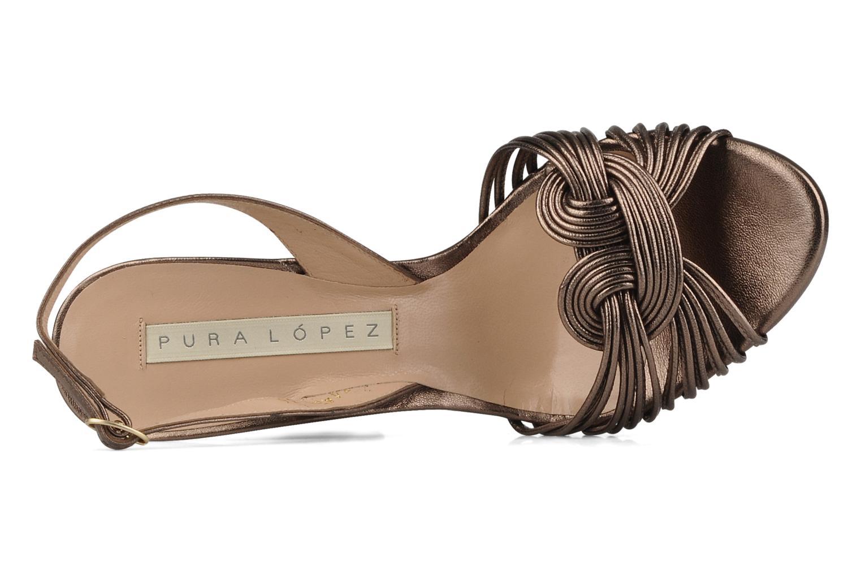 Sandales et nu-pieds Pura Lopez Lopy Or et bronze vue gauche