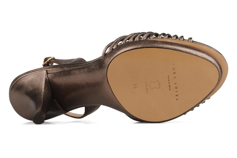 Sandales et nu-pieds Pura Lopez Lopy Or et bronze vue haut
