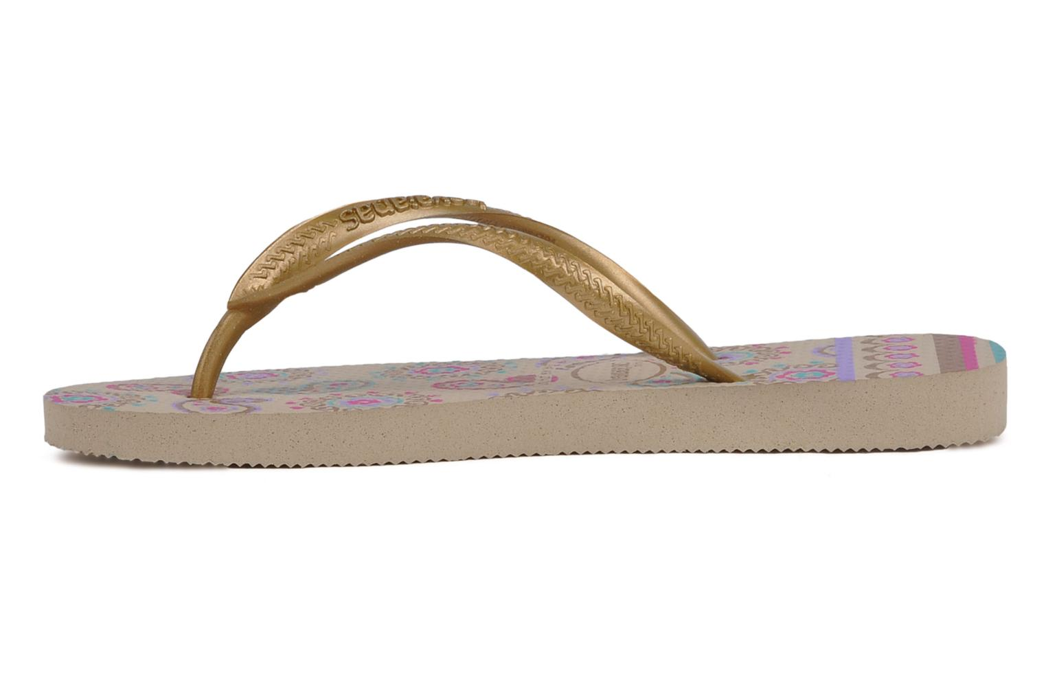 Tongs Havaianas Kids slim garden Or et bronze vue face