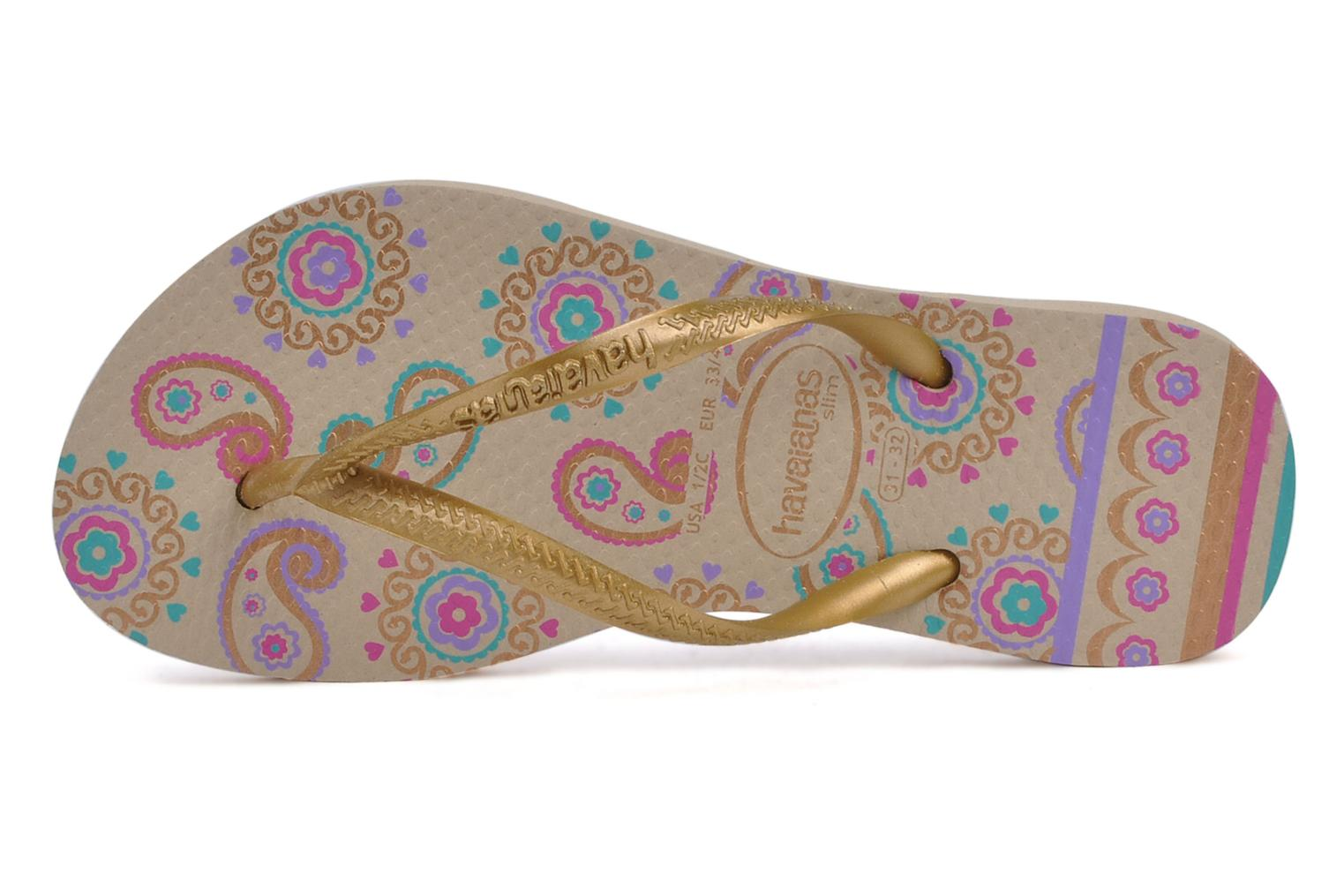 Tongs Havaianas Kids slim garden Or et bronze vue gauche