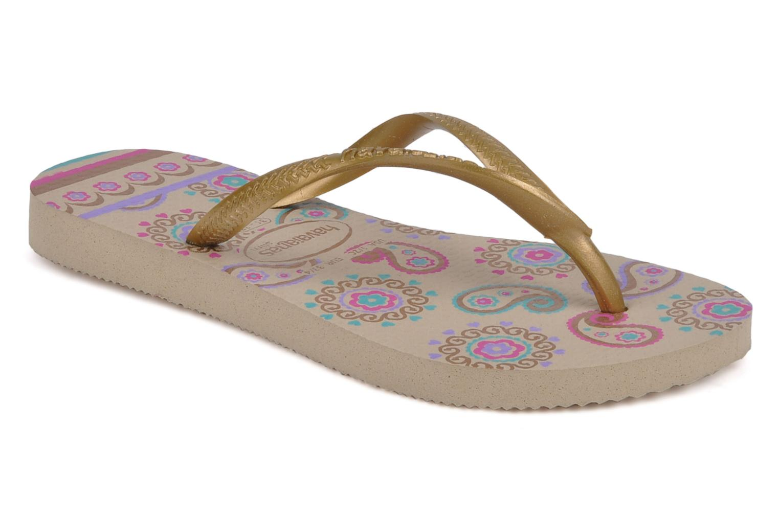 Tongs Havaianas Kids slim garden Or et bronze vue détail/paire
