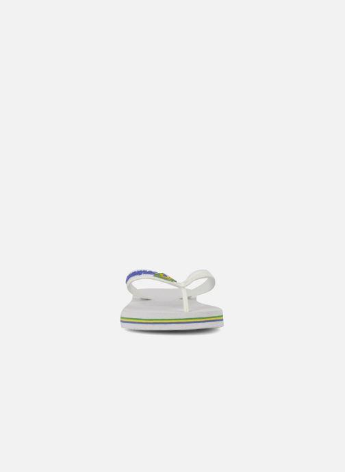 Tongs Havaianas Brasil Logo E Blanc vue portées chaussures
