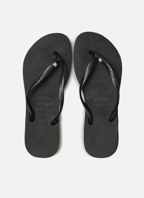 Tongs Havaianas Slim Crystal Glamour Noir vue portées chaussures