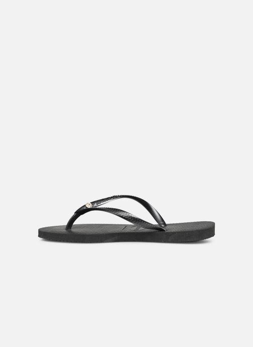 Flip flops Havaianas Slim Crystal Glamour Black front view