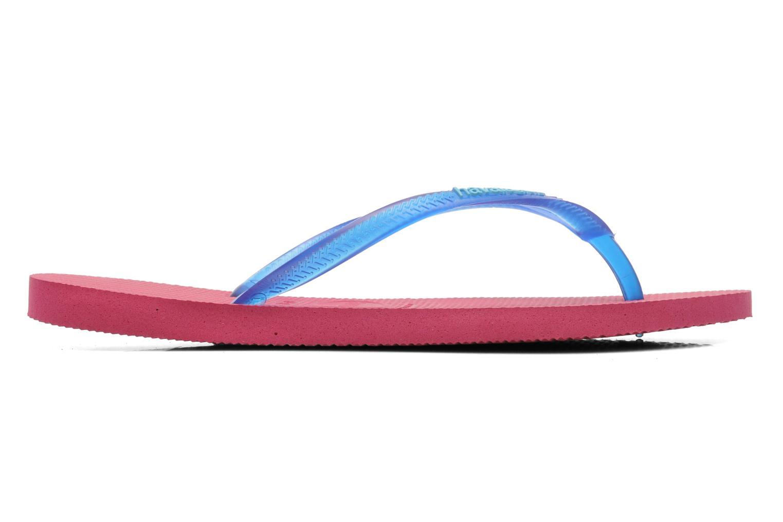 Slippers Havaianas Slim logo femme Blauw achterkant